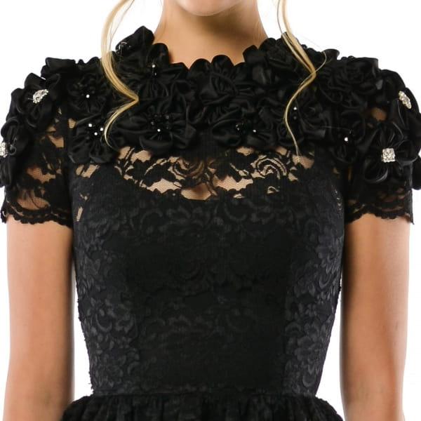 Bardzo dobry Krzesława - sukienka koktajlowa z czarnej koronki i kwiatów HI74