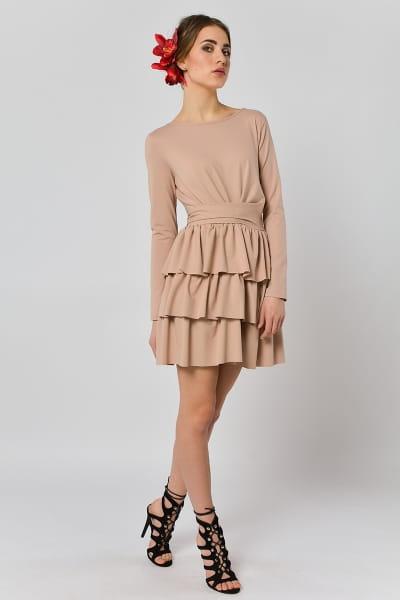 ef55525ea8 Cristina Botanika - beżowa sukienka z falbanami